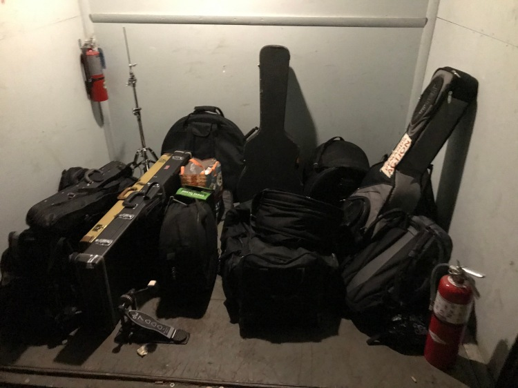 Photo of recording session gear in elevator by Andrew Francis Bernotas
